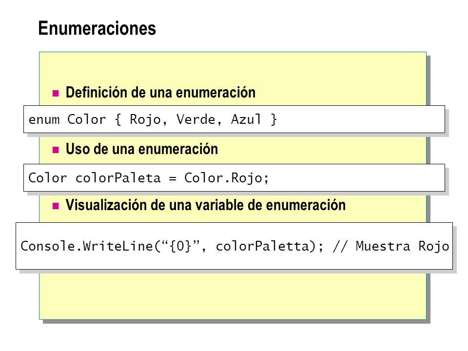 Enumeraciones Definición de una enumeración Uso de una enumeración