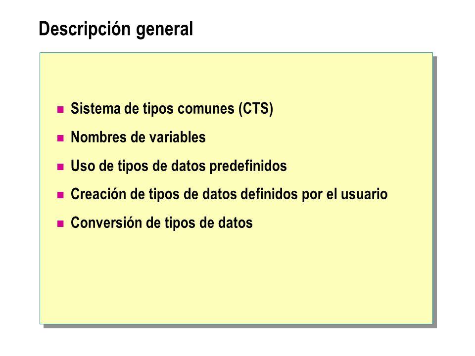 Descripción general Sistema de tipos comunes (CTS)