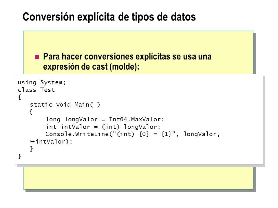 Conversión explícita de tipos de datos