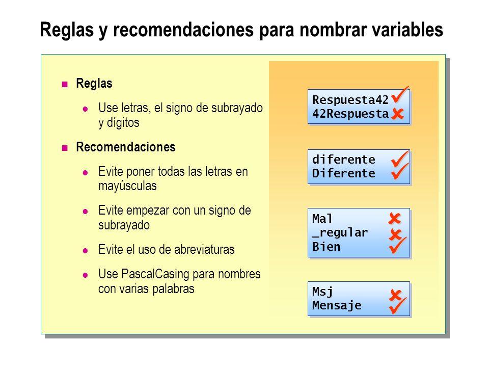 Reglas y recomendaciones para nombrar variables