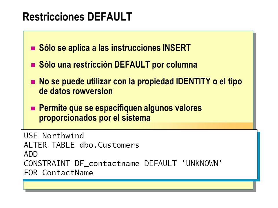 Restricciones DEFAULT