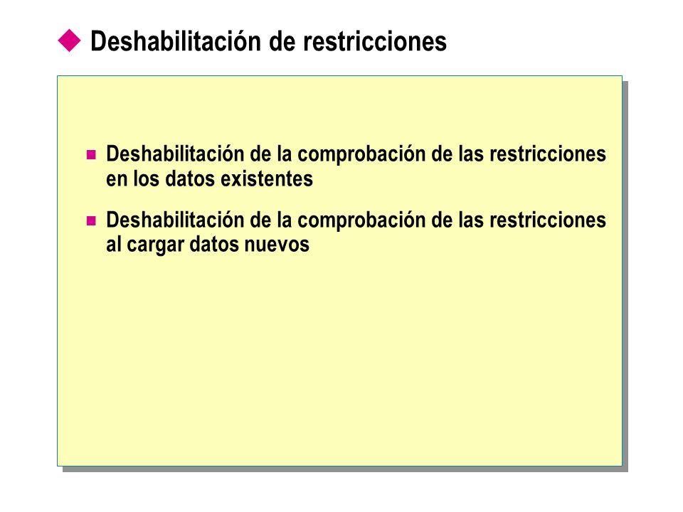Deshabilitación de restricciones