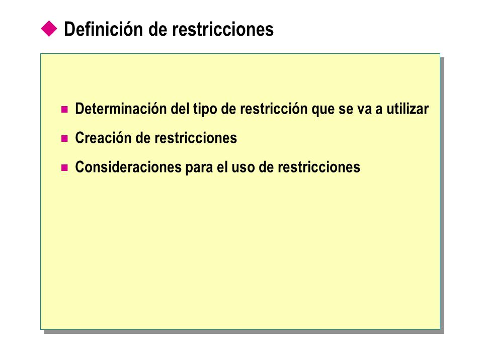 Definición de restricciones