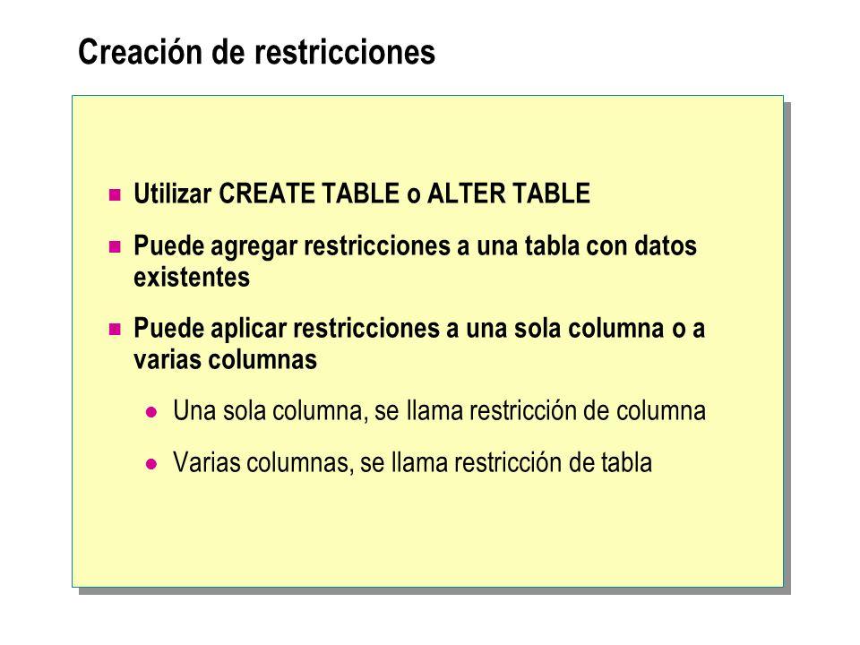 Creación de restricciones