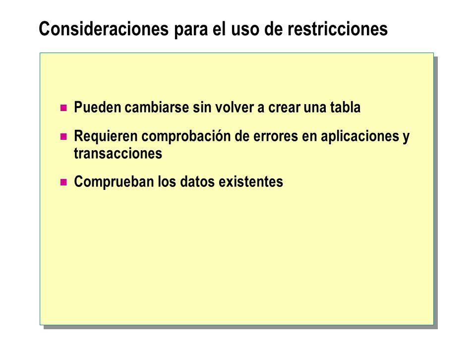 Consideraciones para el uso de restricciones
