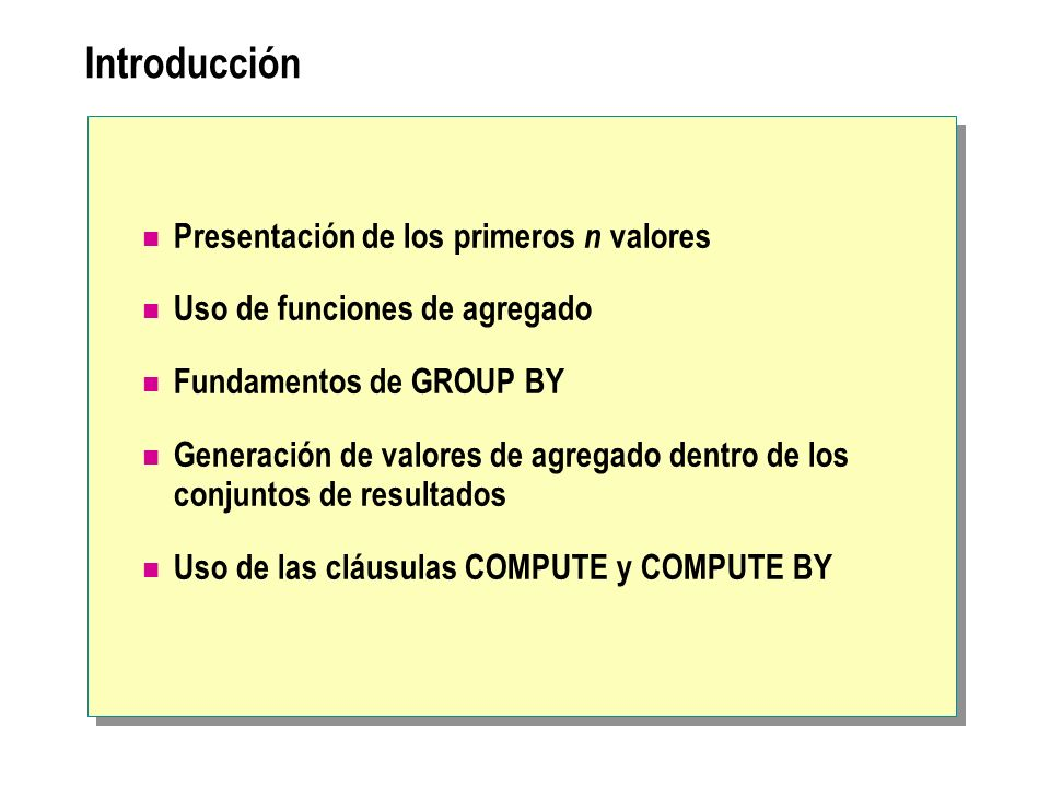 Introducción Presentación de los primeros n valores