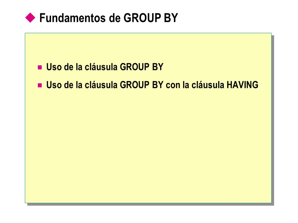 Fundamentos de GROUP BY