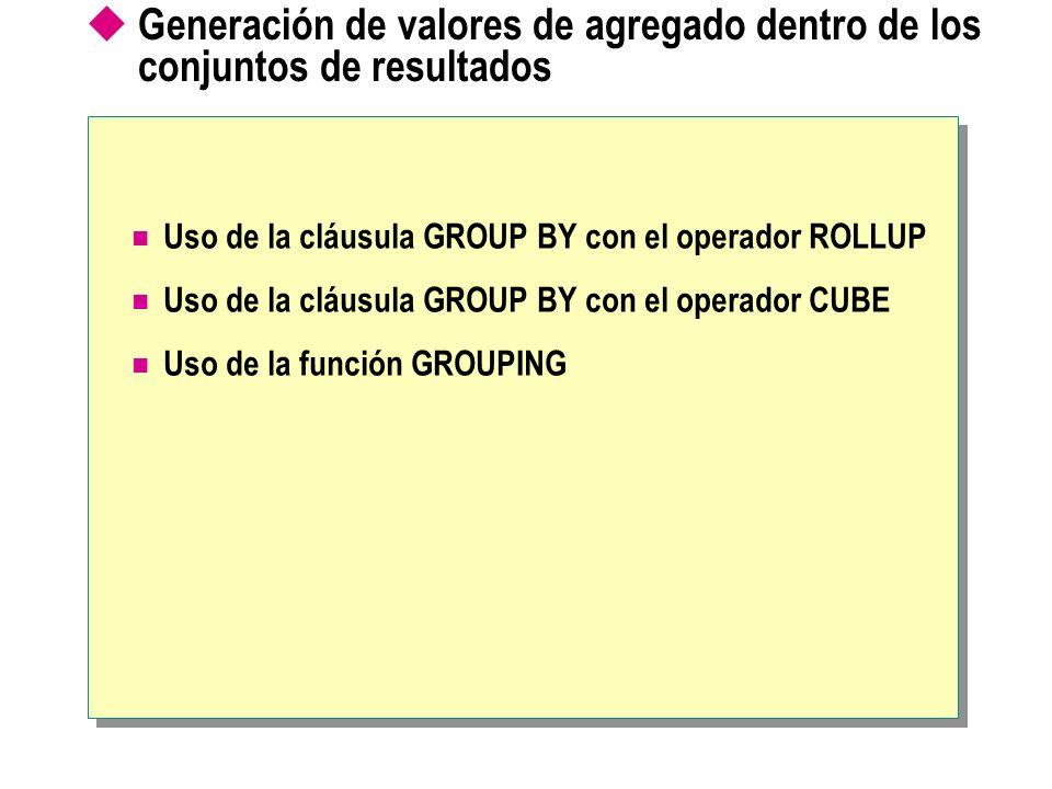 Generación de valores de agregado dentro de los conjuntos de resultados