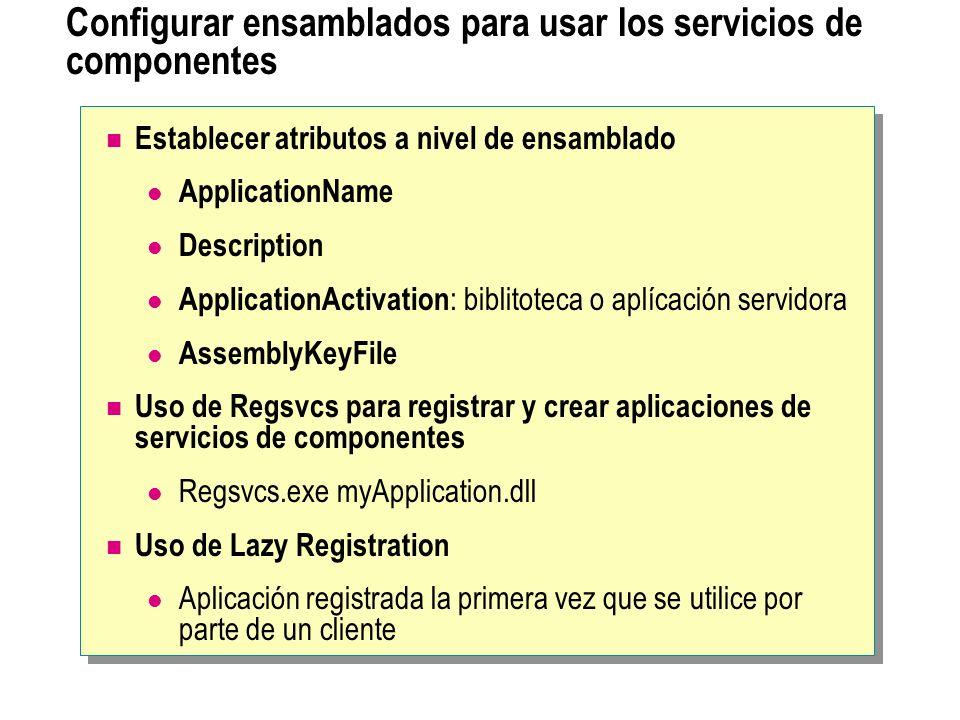 Configurar ensamblados para usar los servicios de componentes