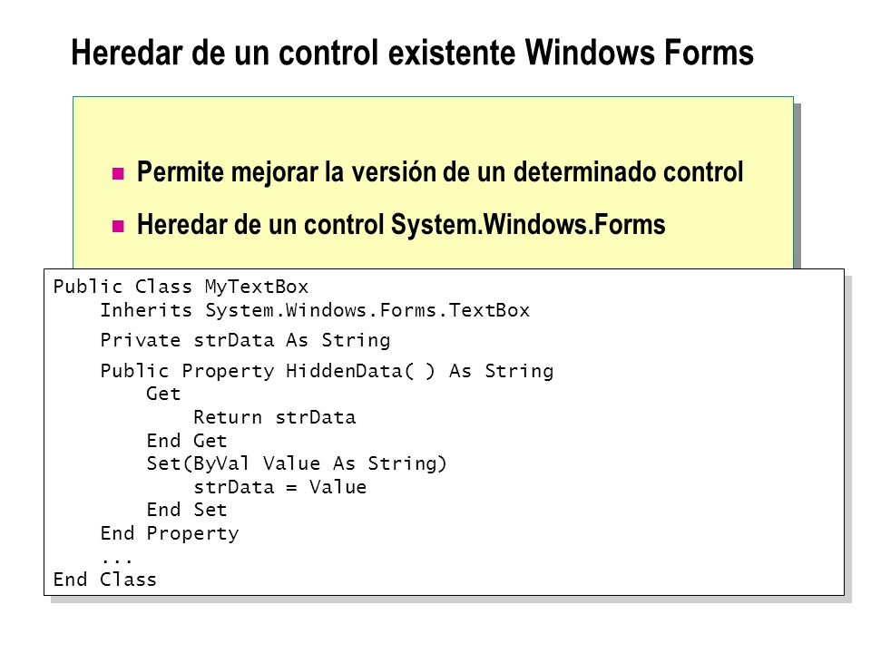 Heredar de un control existente Windows Forms