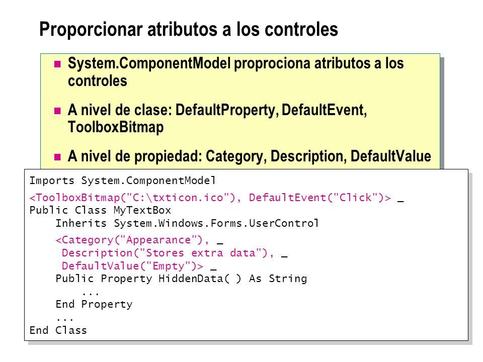 Proporcionar atributos a los controles