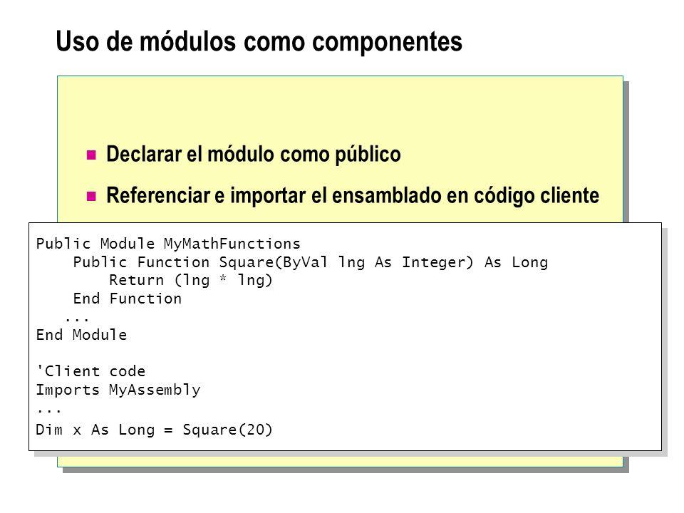 Uso de módulos como componentes