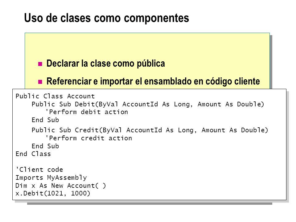 Uso de clases como componentes
