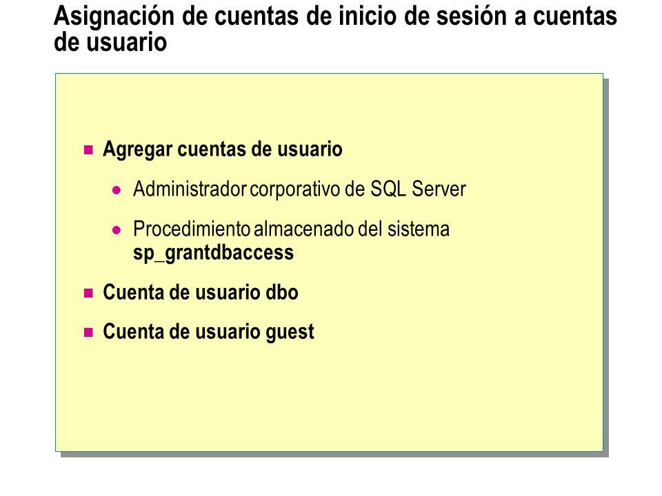 Asignación de cuentas de inicio de sesión a cuentas de usuario