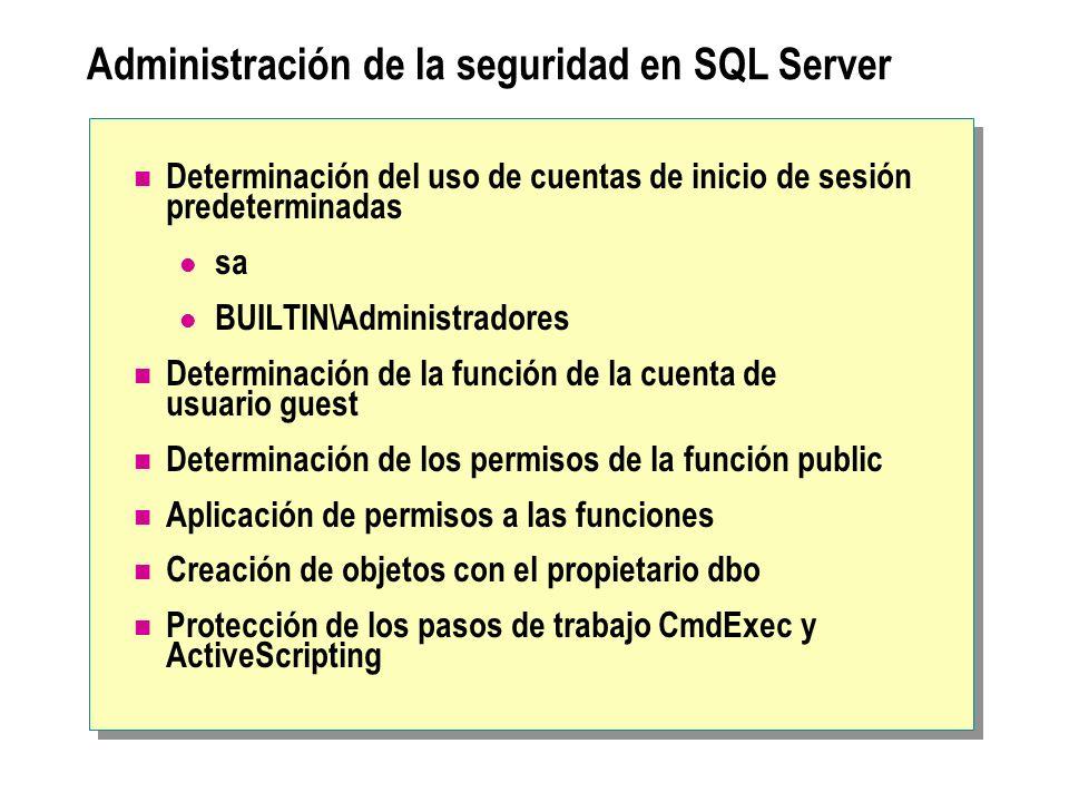 Administración de la seguridad en SQL Server