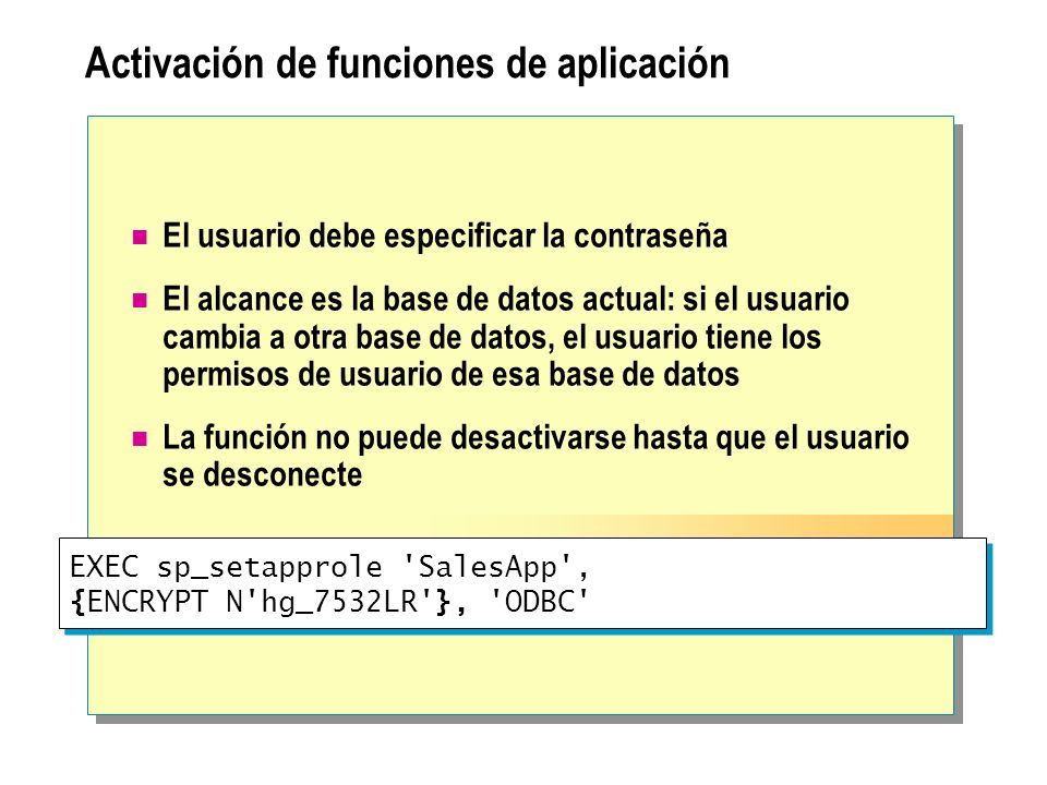 Activación de funciones de aplicación