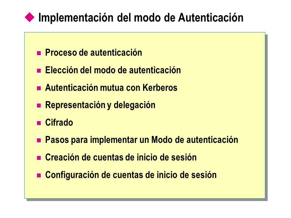 Implementación del modo de Autenticación