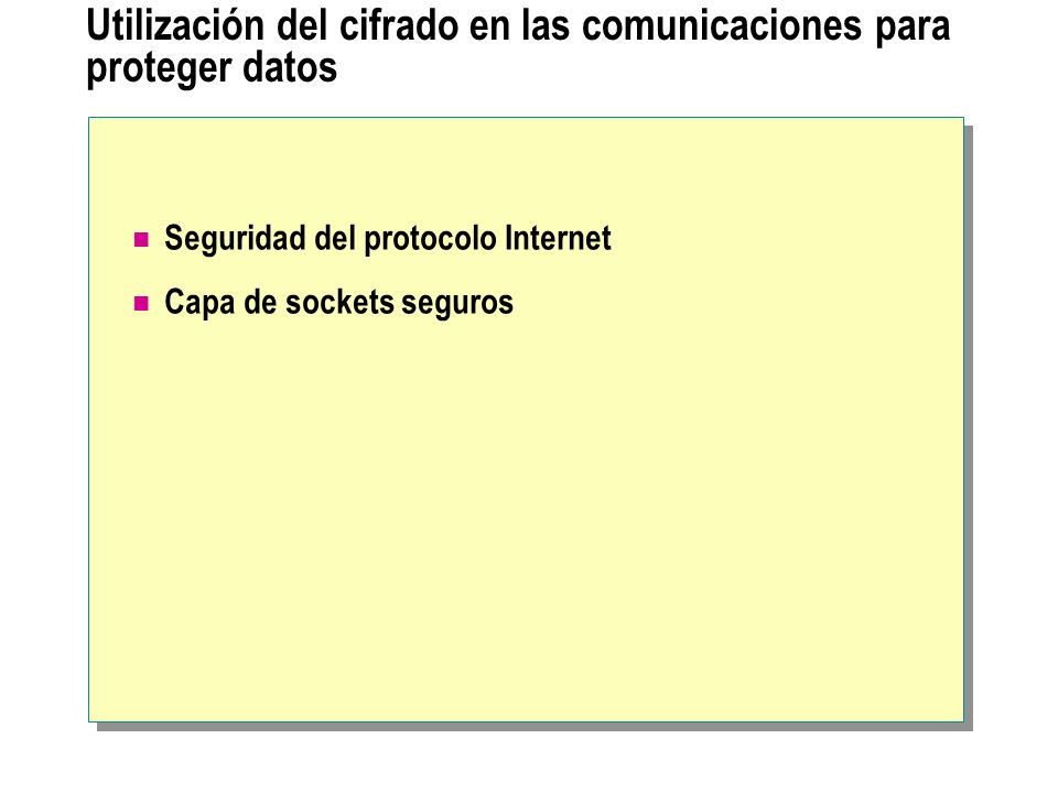 Utilización del cifrado en las comunicaciones para proteger datos