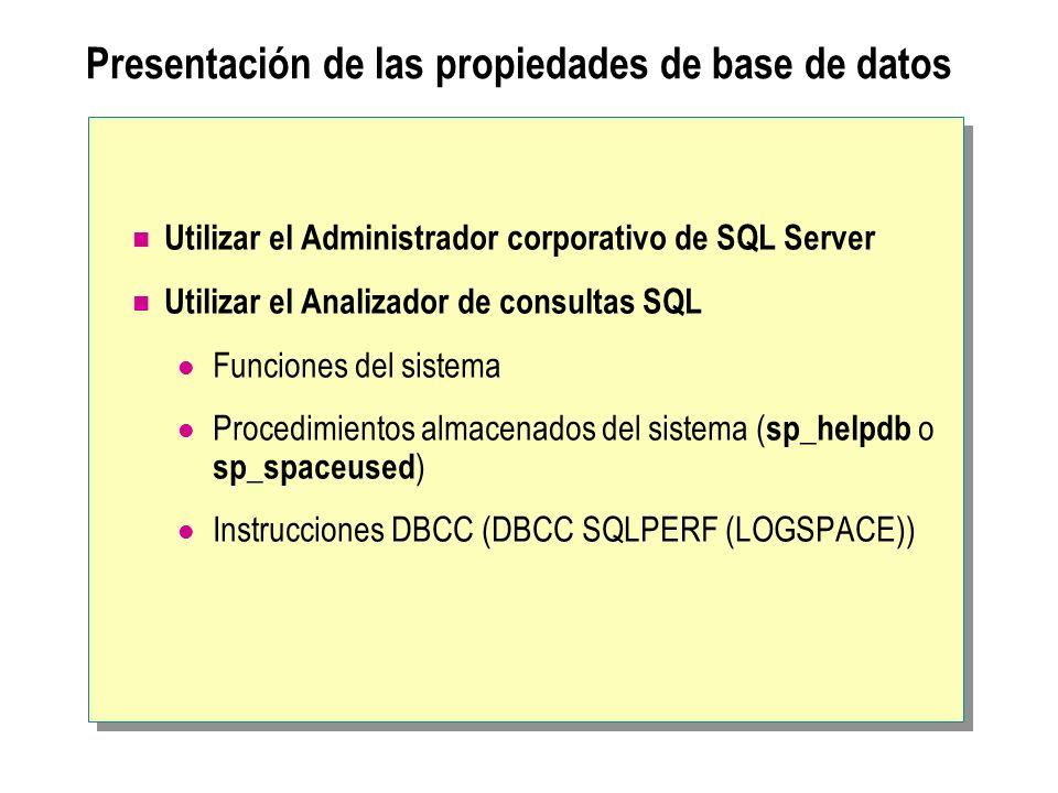 Presentación de las propiedades de base de datos