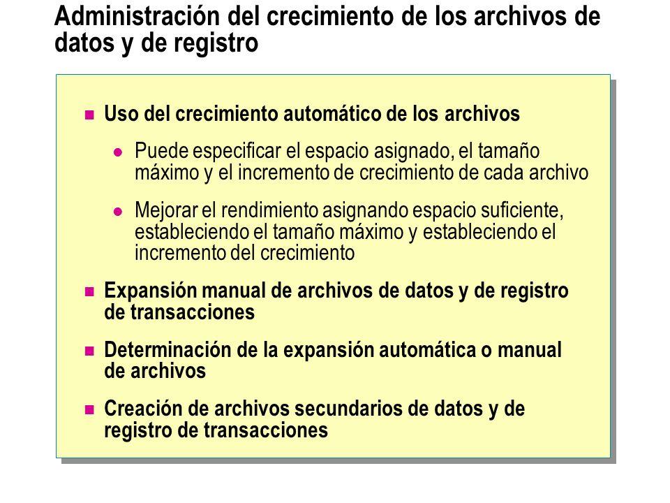 Administración del crecimiento de los archivos de datos y de registro