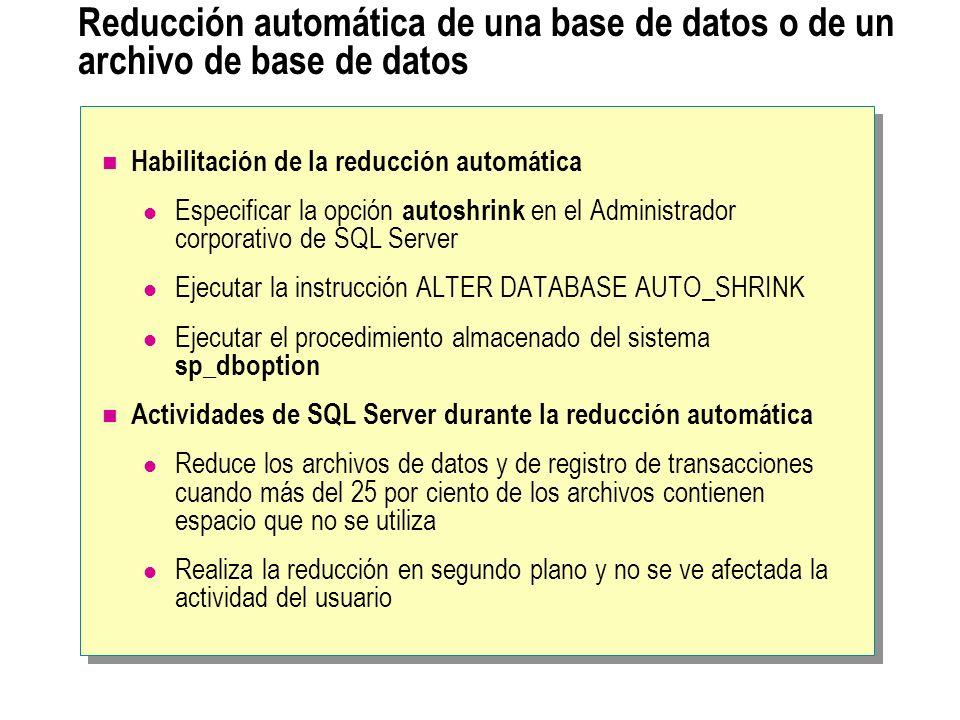 Reducción automática de una base de datos o de un archivo de base de datos