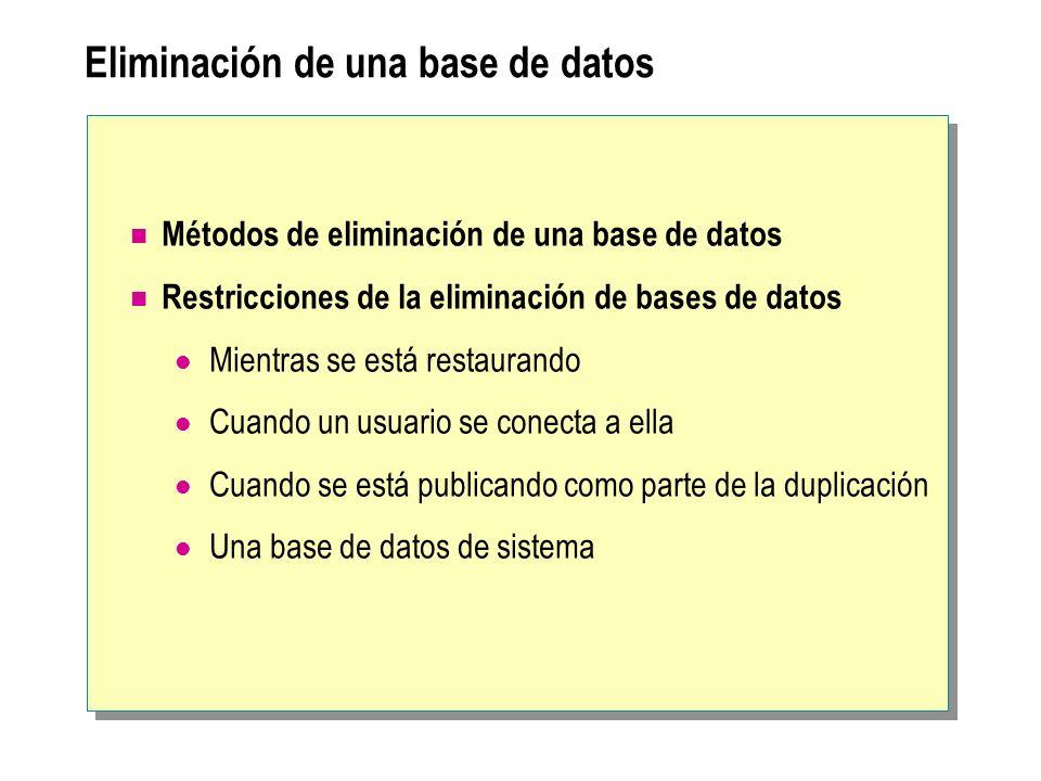 Eliminación de una base de datos
