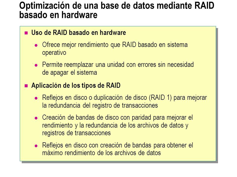 Optimización de una base de datos mediante RAID basado en hardware