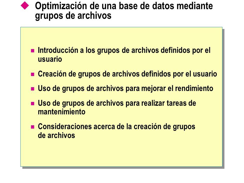 Optimización de una base de datos mediante grupos de archivos