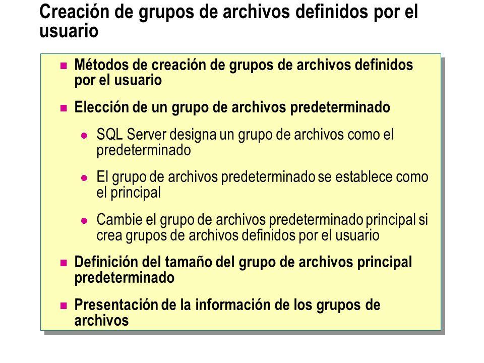 Creación de grupos de archivos definidos por el usuario