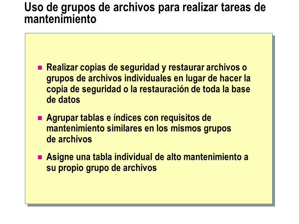 Uso de grupos de archivos para realizar tareas de mantenimiento