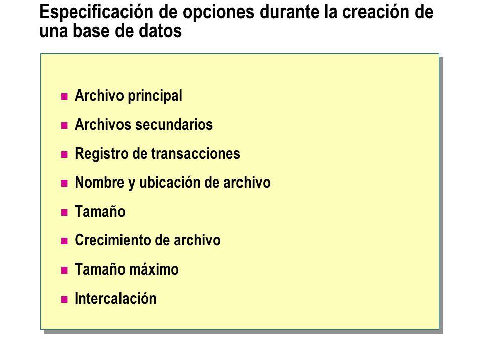 Especificación de opciones durante la creación de una base de datos