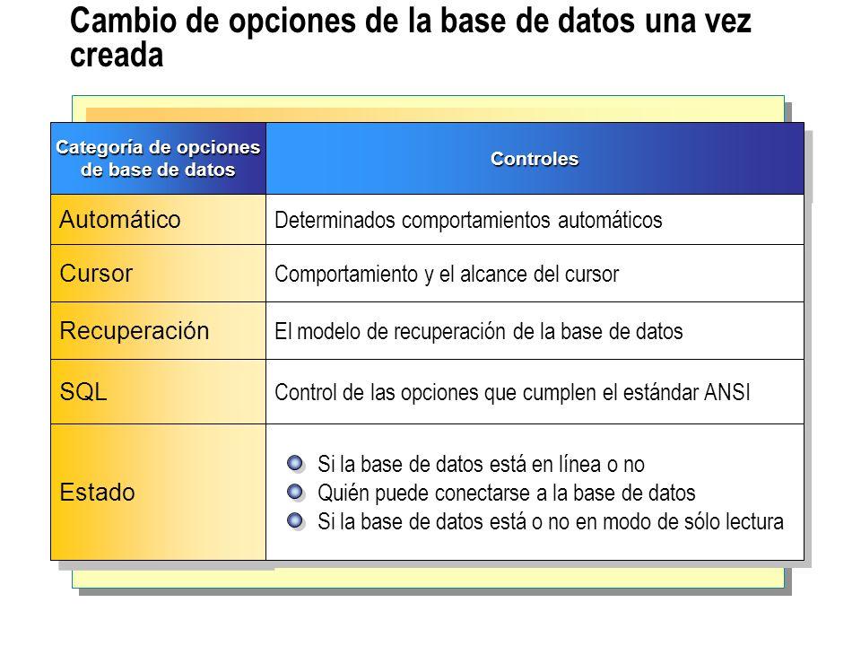 Cambio de opciones de la base de datos una vez creada