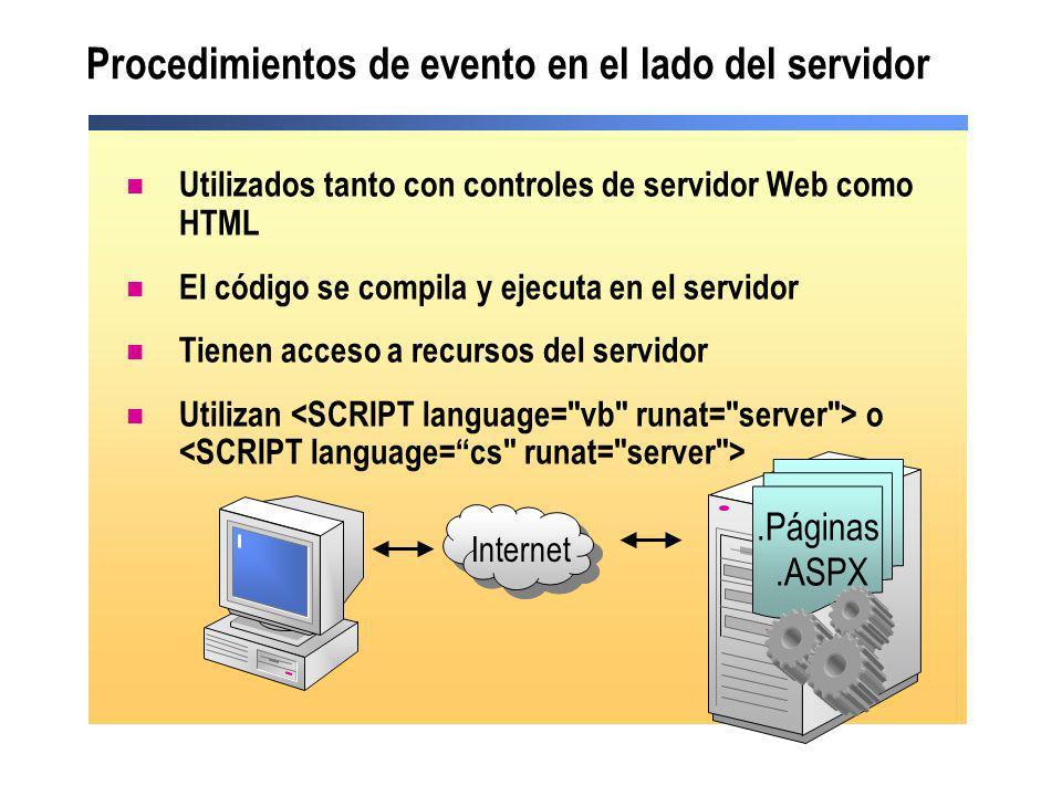 Procedimientos de evento en el lado del servidor