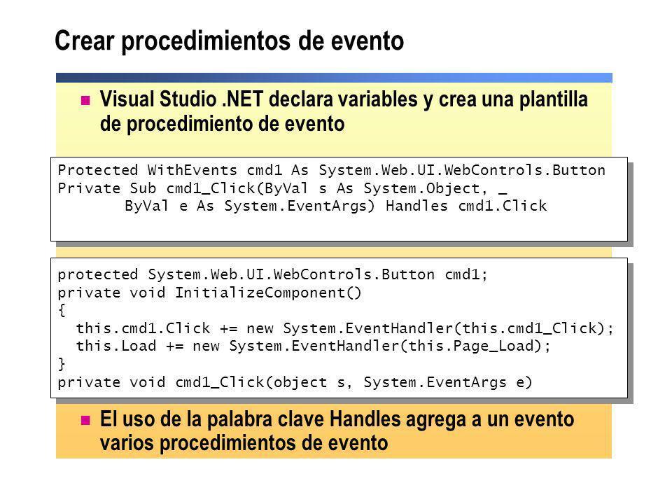Crear procedimientos de evento
