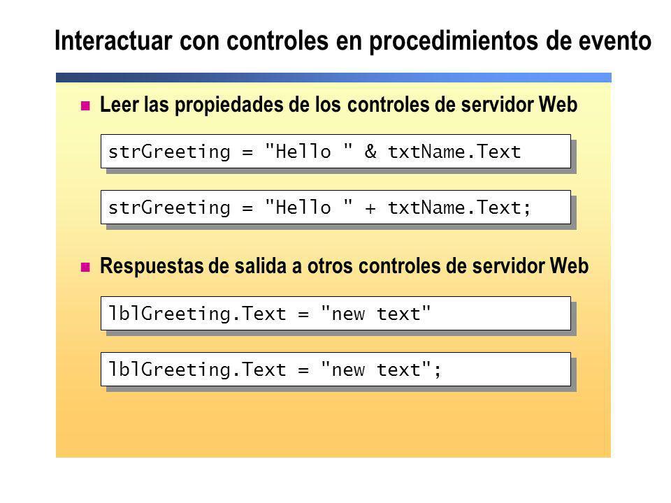 Interactuar con controles en procedimientos de evento