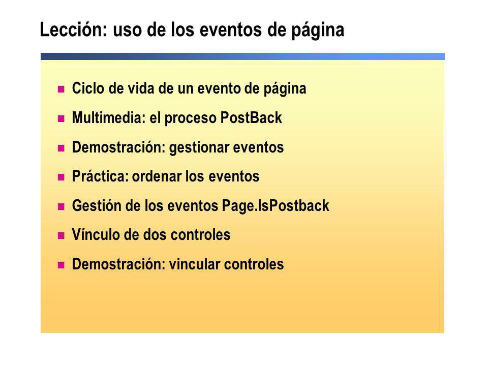 Lección: uso de los eventos de página
