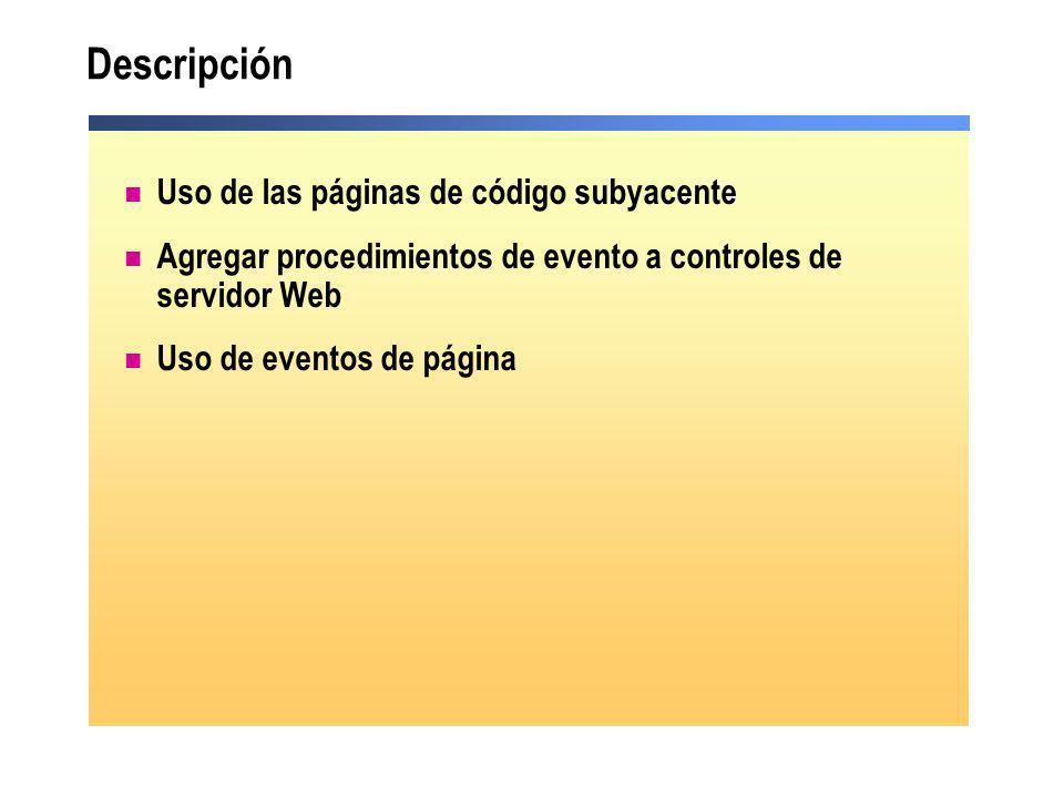 Descripción Uso de las páginas de código subyacente