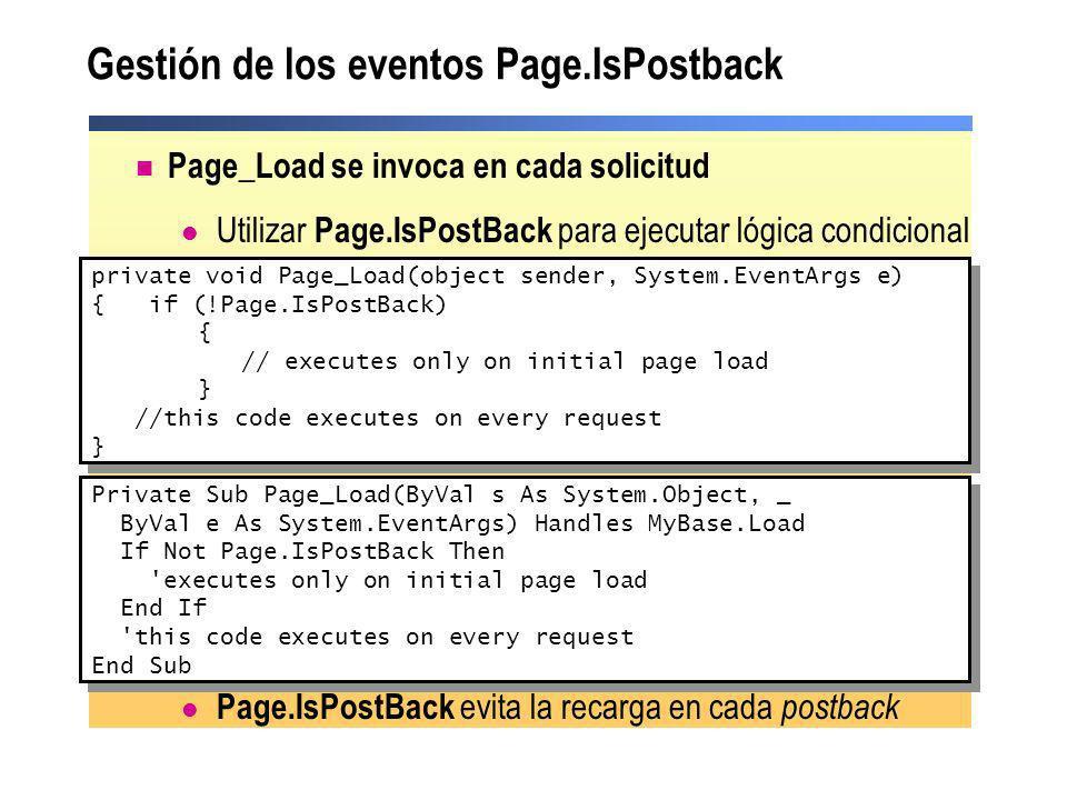 Gestión de los eventos Page.IsPostback