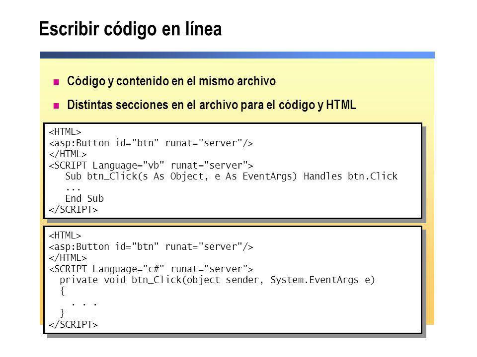 Escribir código en línea