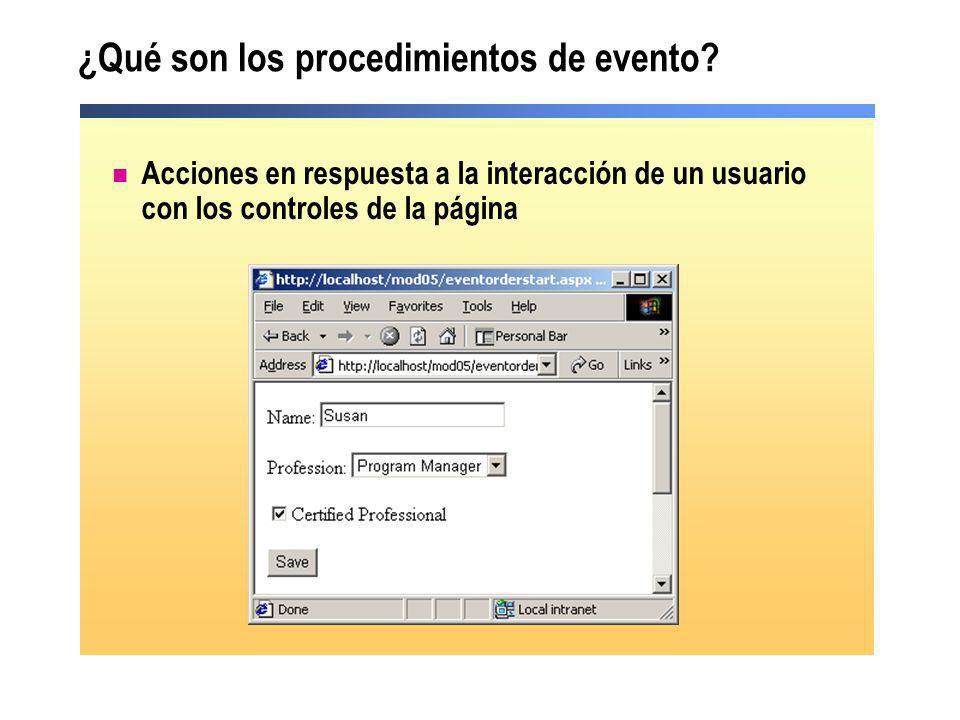¿Qué son los procedimientos de evento