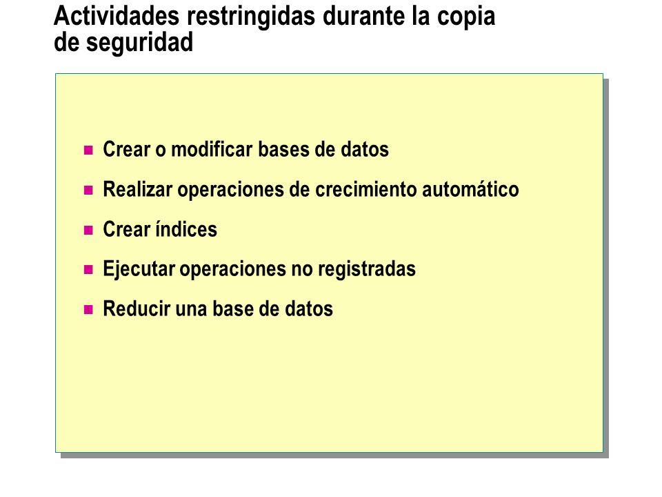 Actividades restringidas durante la copia de seguridad
