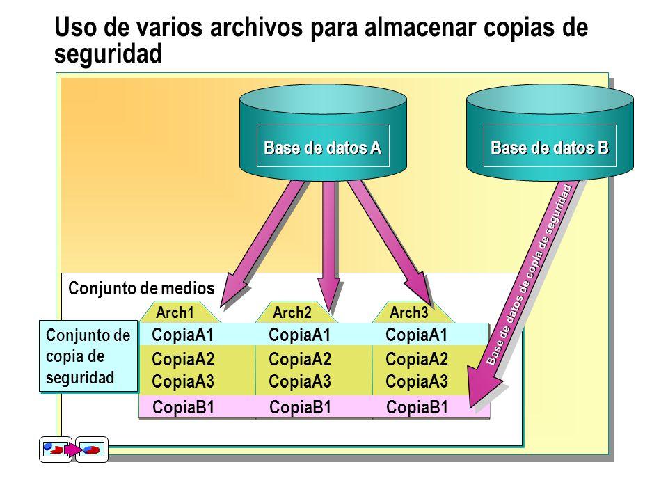 Uso de varios archivos para almacenar copias de seguridad