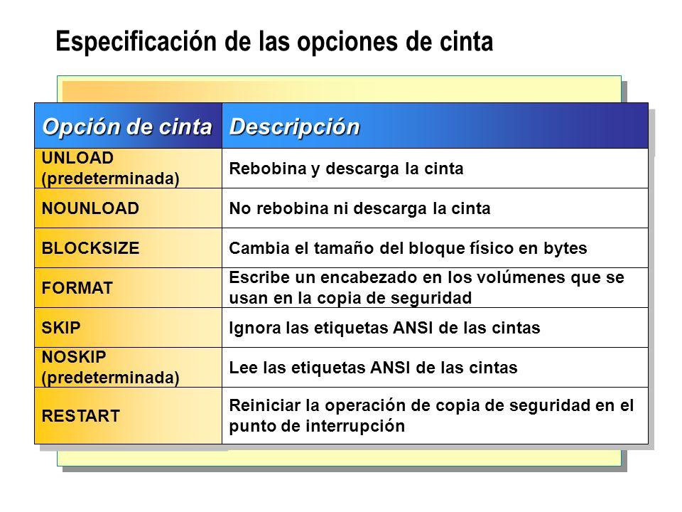 Especificación de las opciones de cinta