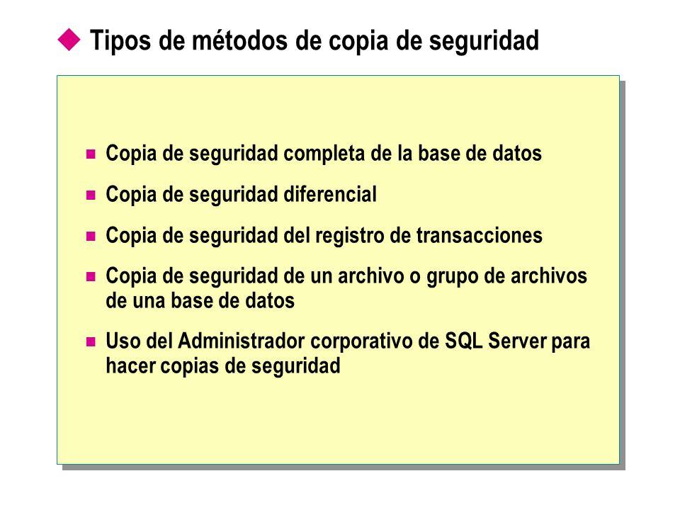 Tipos de métodos de copia de seguridad