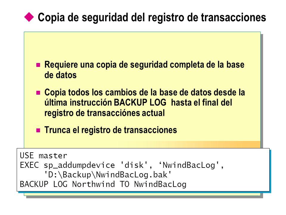 Copia de seguridad del registro de transacciones