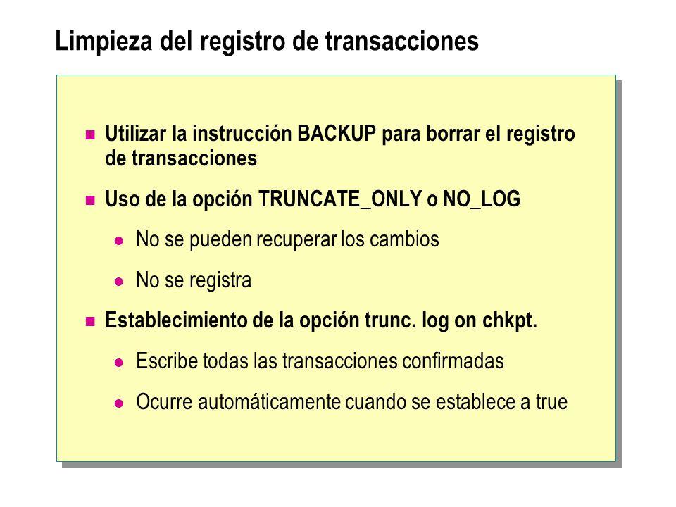 Limpieza del registro de transacciones