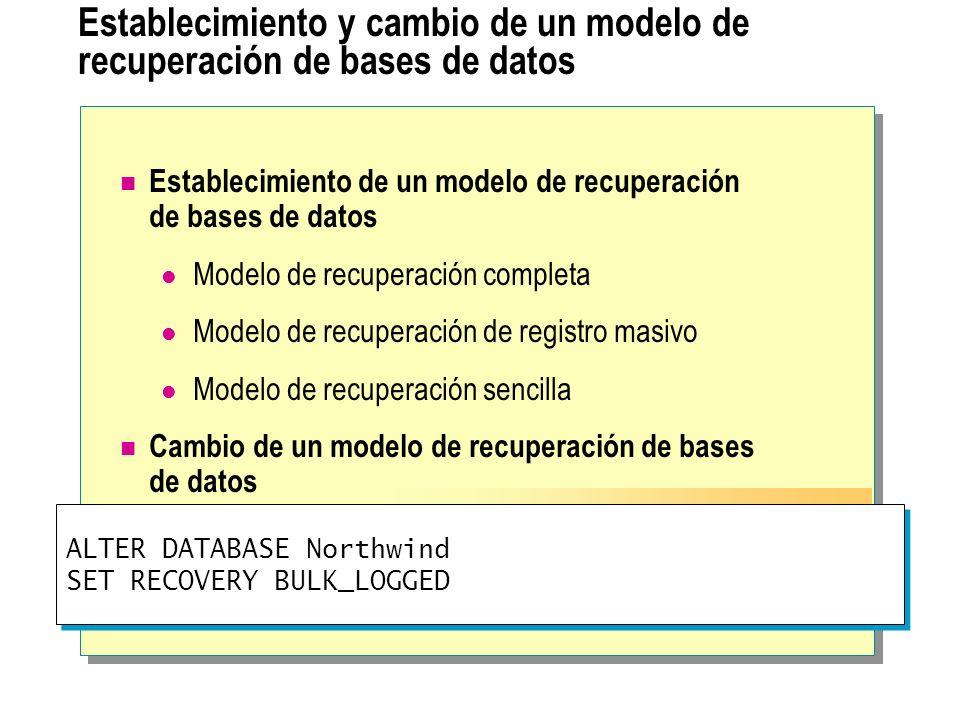 Establecimiento y cambio de un modelo de recuperación de bases de datos