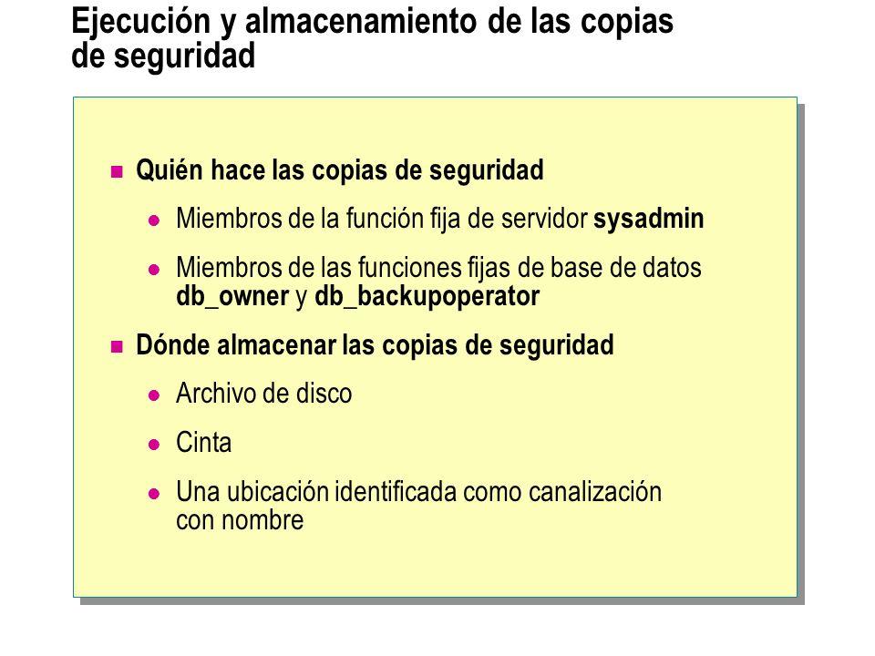 Ejecución y almacenamiento de las copias de seguridad