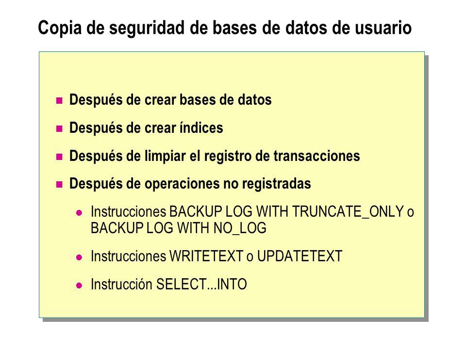 Copia de seguridad de bases de datos de usuario
