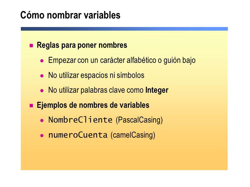 Cómo nombrar variables